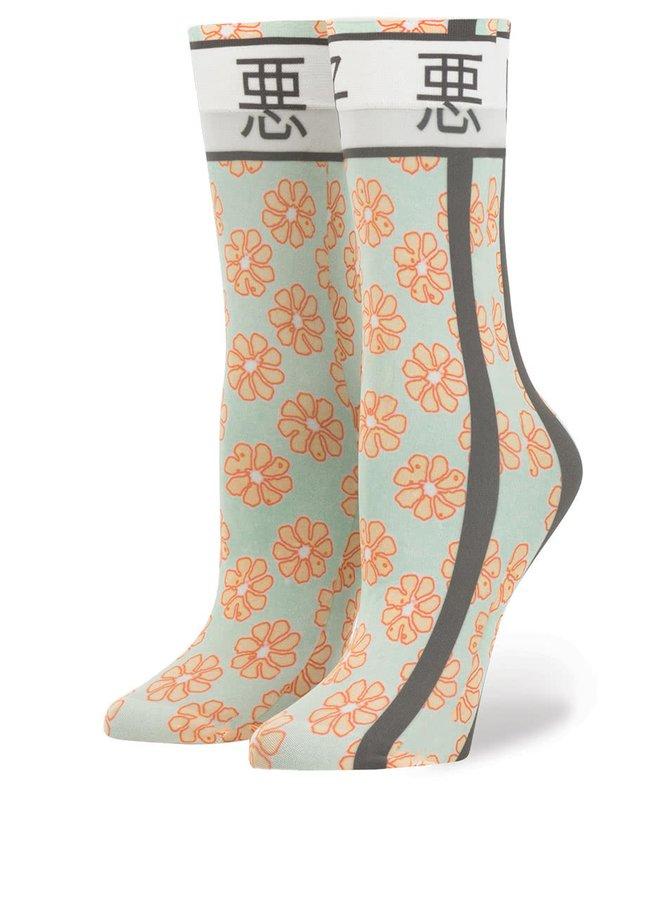 Žluto-zelené dámské ponožky s japonským motivem Stance Bad Girl