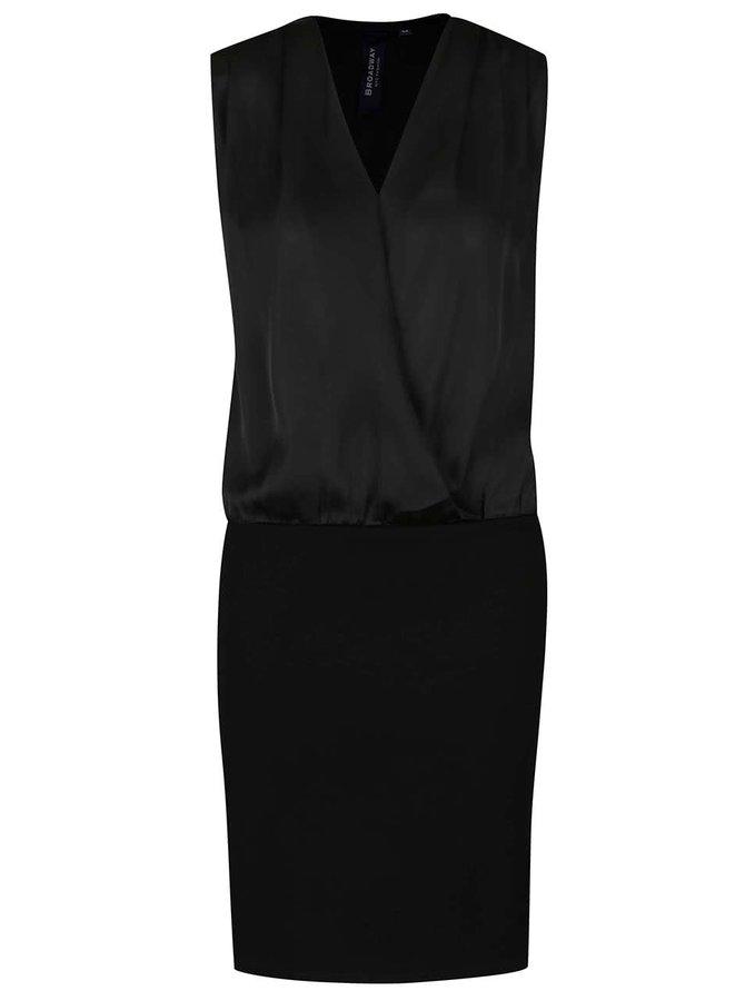 Černé šaty s lesklým překládaným topem Broadway Vina