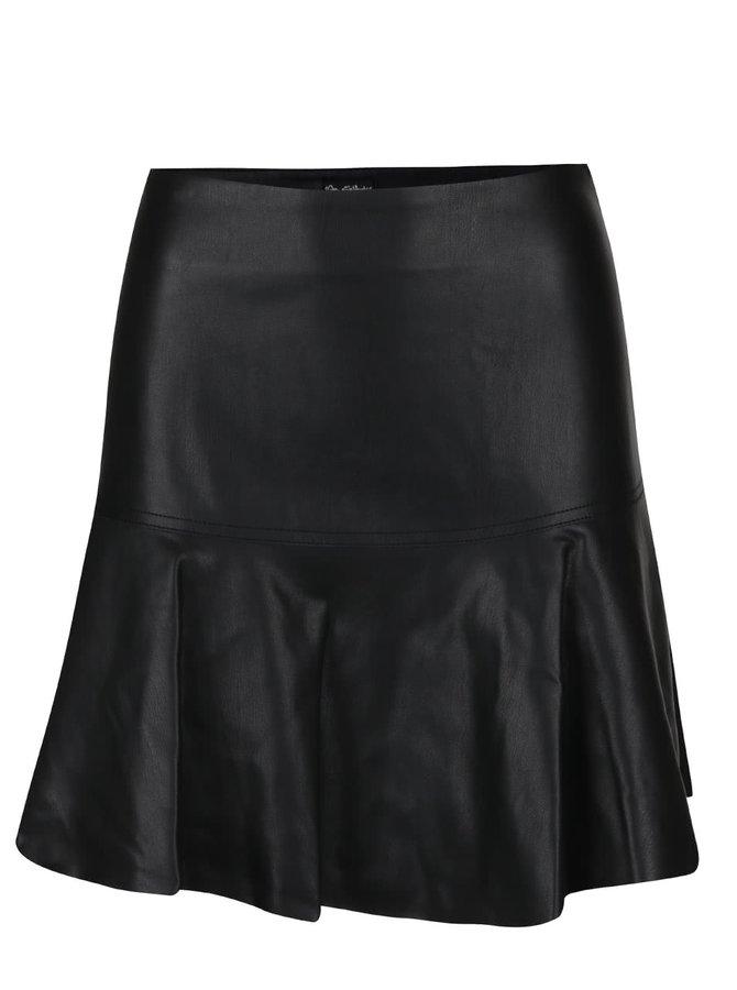 Černá koženková áčková sukně Miss Selfridge