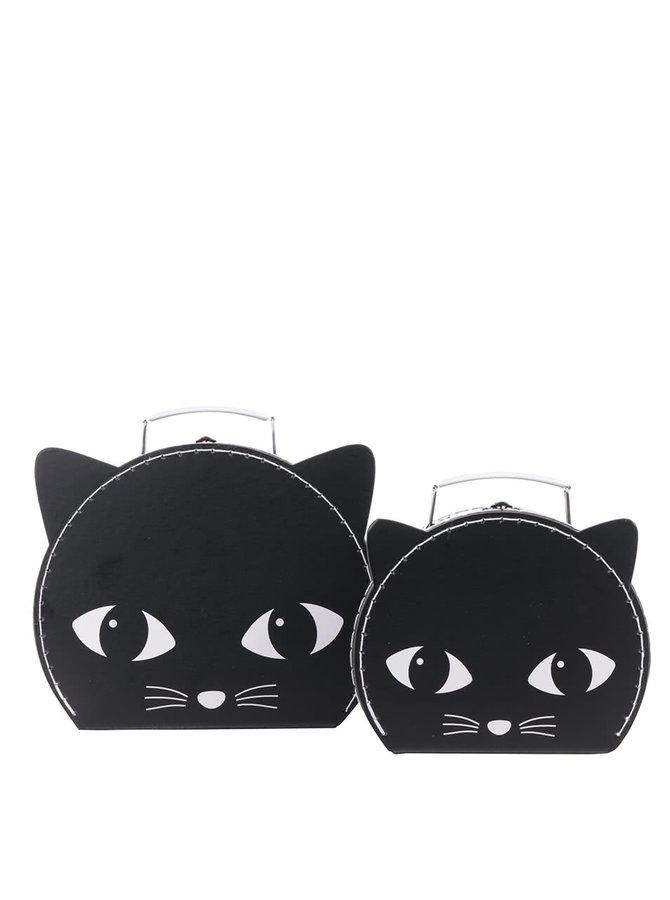 Sada dvou černých kufříků ve tvaru kočky Sass & Belle