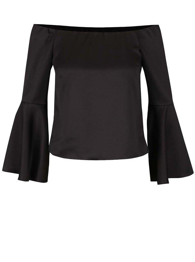 Černý lesklý crop top s odhalenými rameny Miss Selfridge