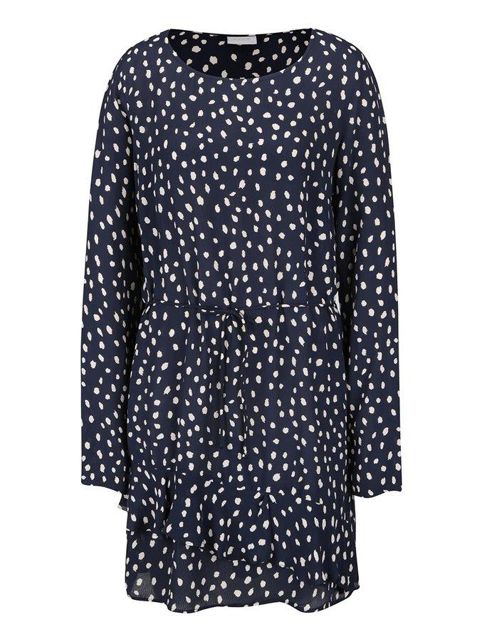 Tmavě modré vzorované volné šaty VILA Laury