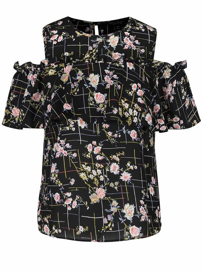 Černá květovaná halenka s průstřihy na ramenou Miss Selfridge