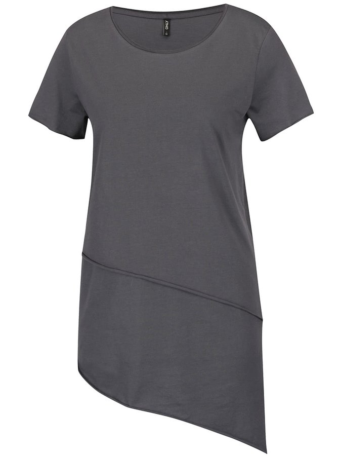 Tricou gri închis ONLY Mitte cu tiv asimetric
