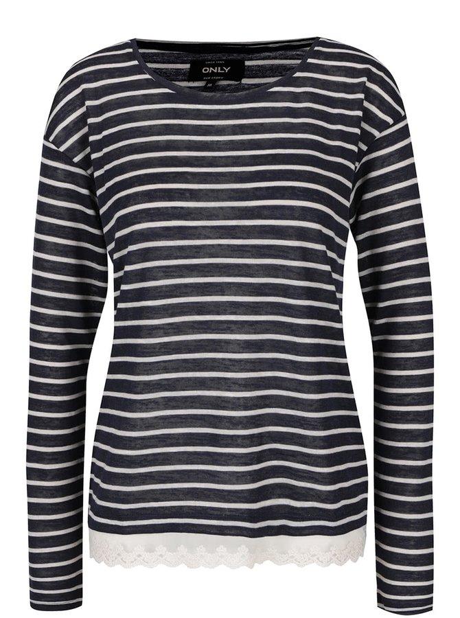 Krémovo-modré pruhované tričko s krajkou ONLY Gina
