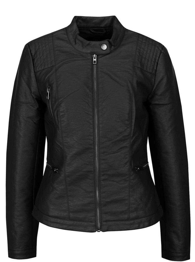Černá koženková bunda na zip ONLY Wilma