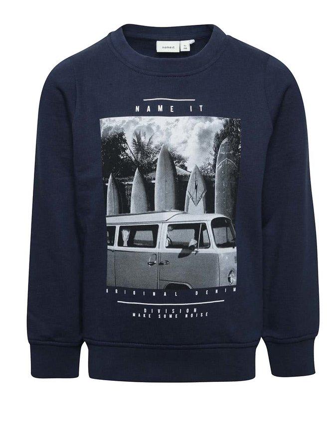 Bluză albastru închis name it Polapaint din bumbac cu print