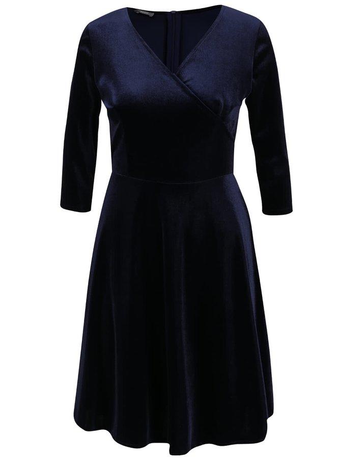 Tmavě modré sametové šaty s překládaným výstřihem ZOOT