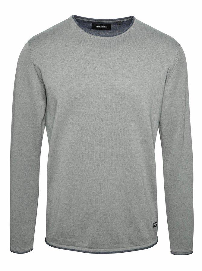 Modro-šedý žíhaný svetr s kulatým výstřihem ONLY & SONS Garson