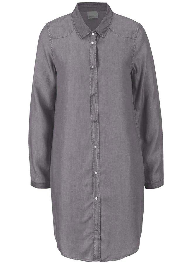 Světle šedé džínové košilové šaty VERO MODA Daisy