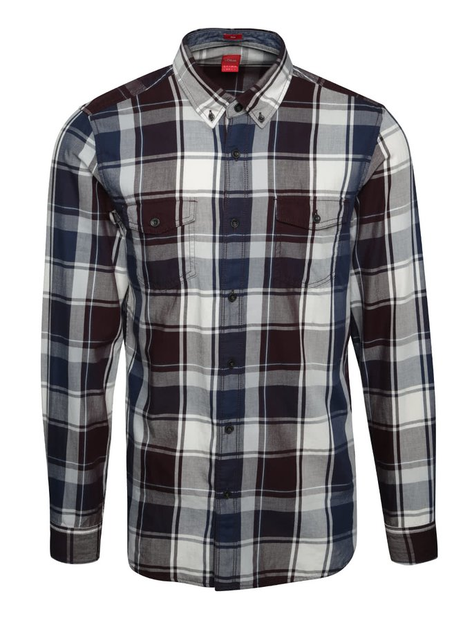 Modro-fialová pánská kostkovaná slim fit košile s.Oliver