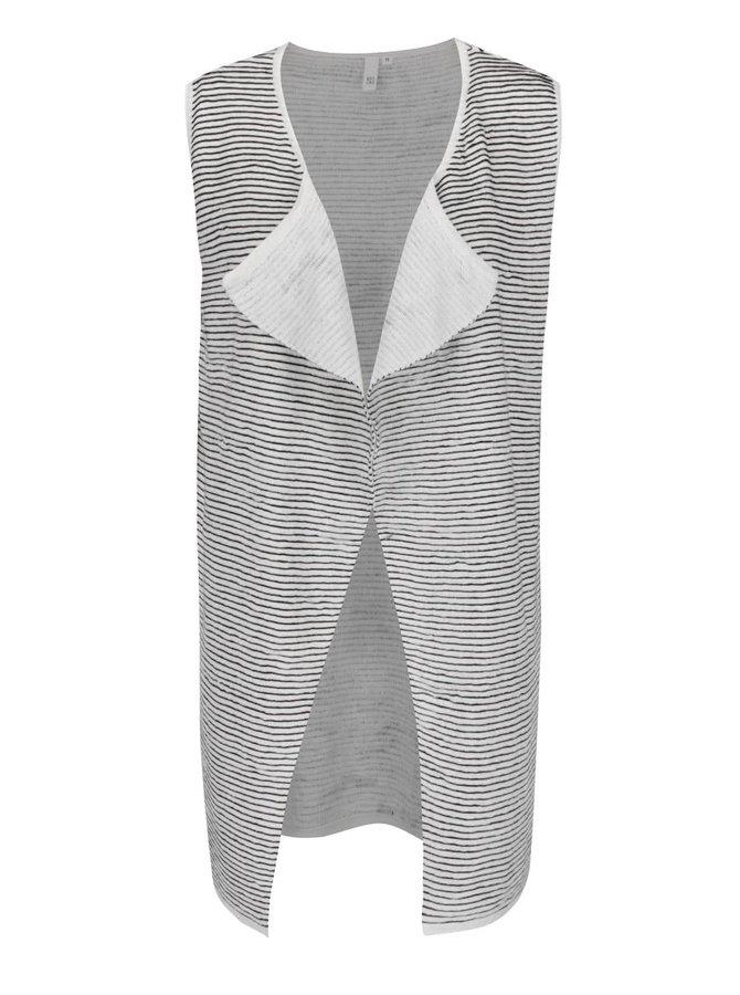 Černo-krémová dámská pruhovaná vesta QS by s.Oliver