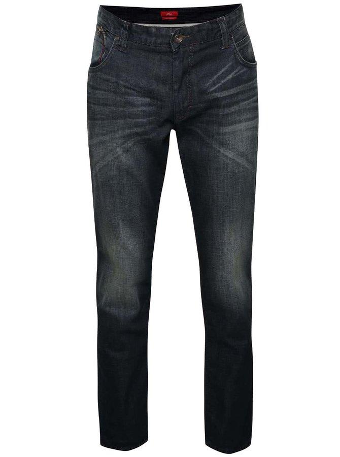 Tmavě modré pánské vyšisované regular fit džíny s.Oliver