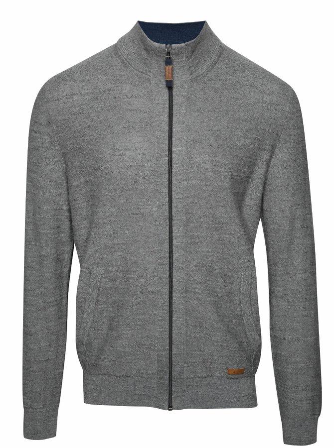 Šedý pánský žíhaný svetr na zip s.Oliver