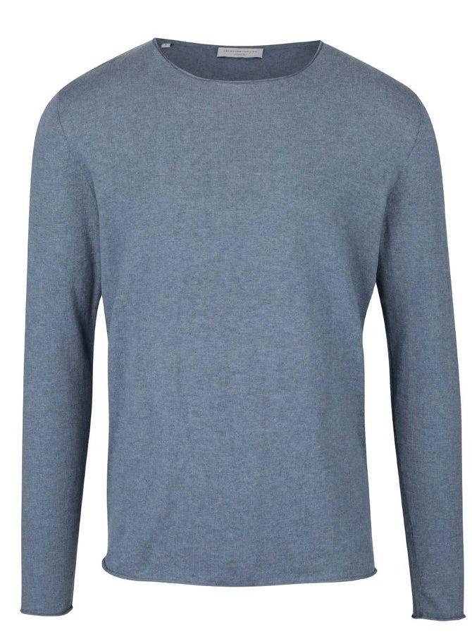 Světle modré triko s dlouhým rukávem Selected Homme Dome