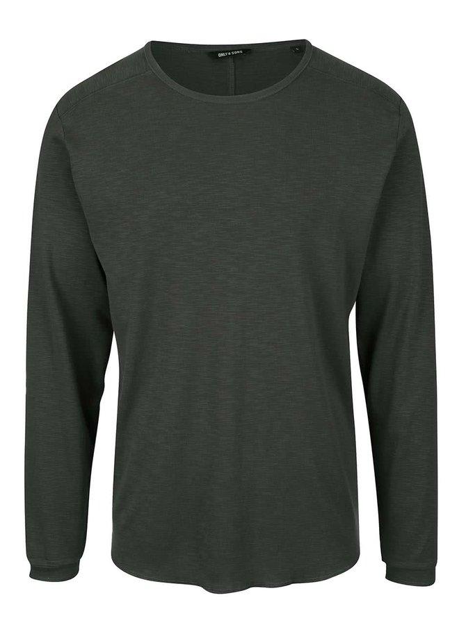 Sivozelené tričko s dlhým rukávom ONLY & SONS Karl