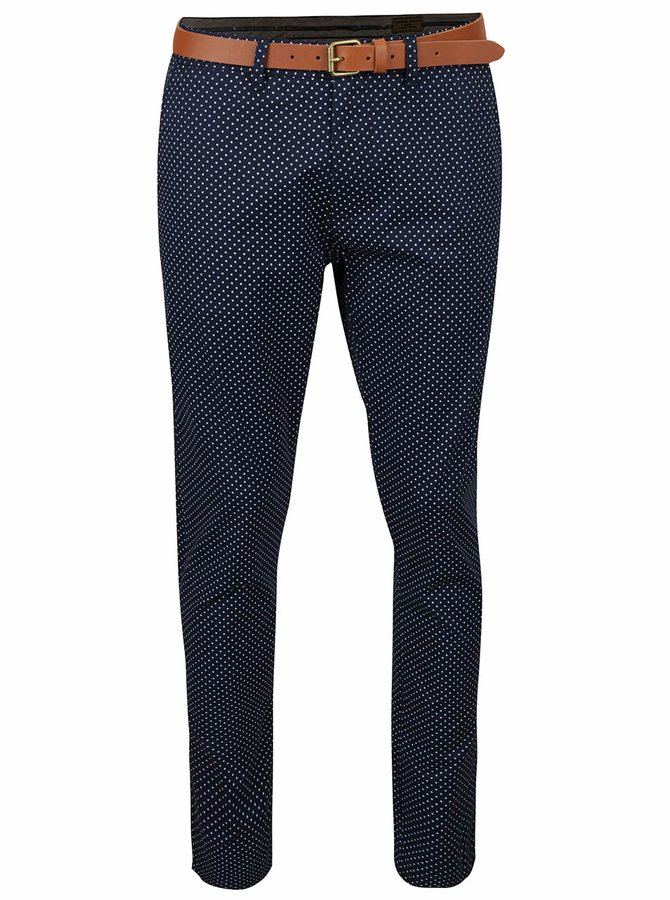 Pantaloni chino bleumarin Selected Homme Yard cu model cu buline