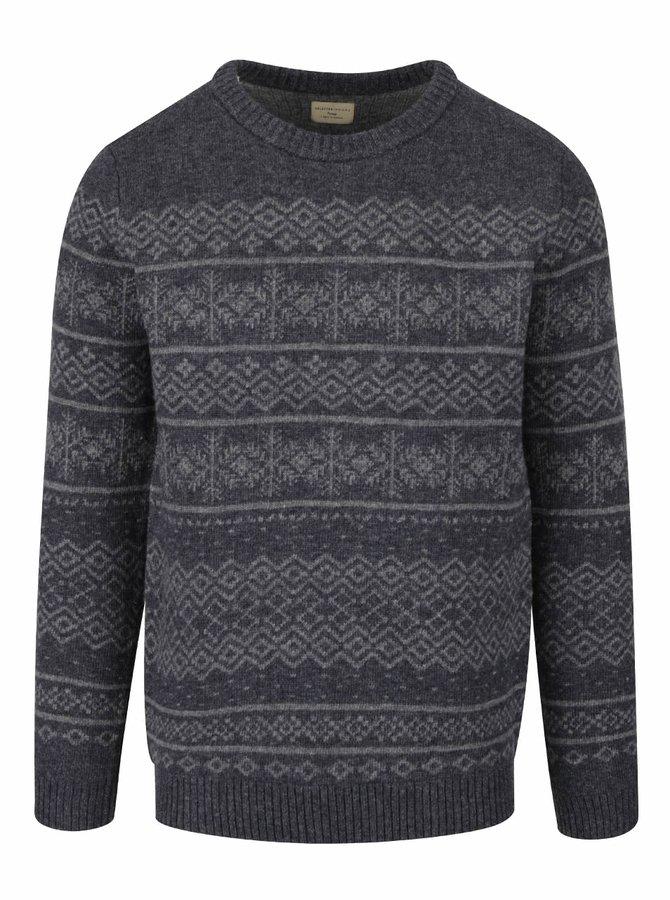 Šedý vzorovaný vlněný svetr Selected Homme Xmas