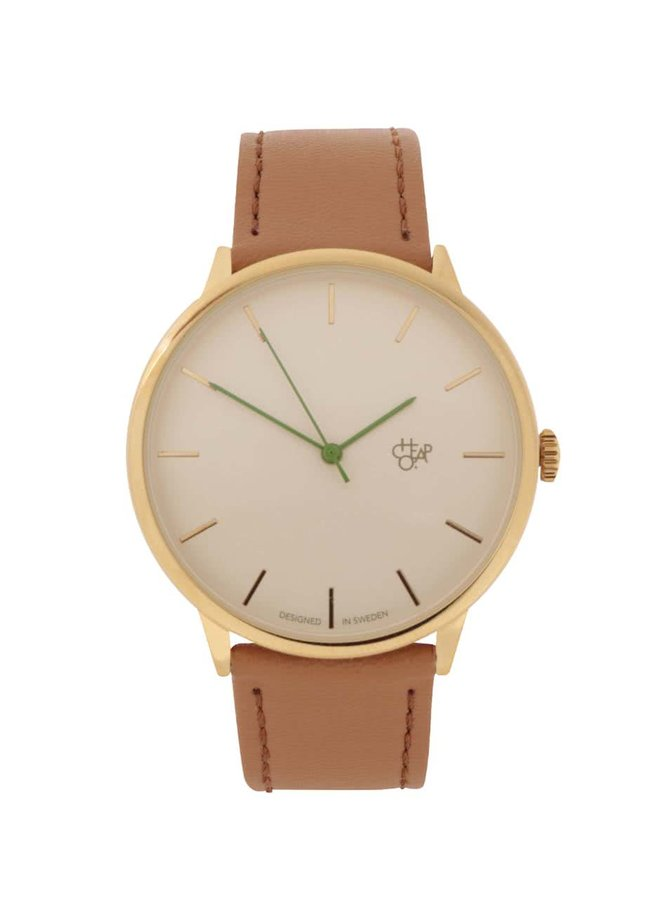 Pánské hodinky ve zlaté barvě s hnědým páskem z veganské kůže CHPO Nawroz