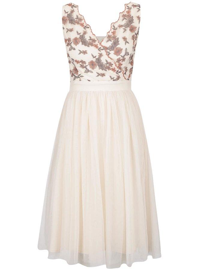 Béžové šaty s květinovým vzorem a překládaným dekoltem Little Mistress
