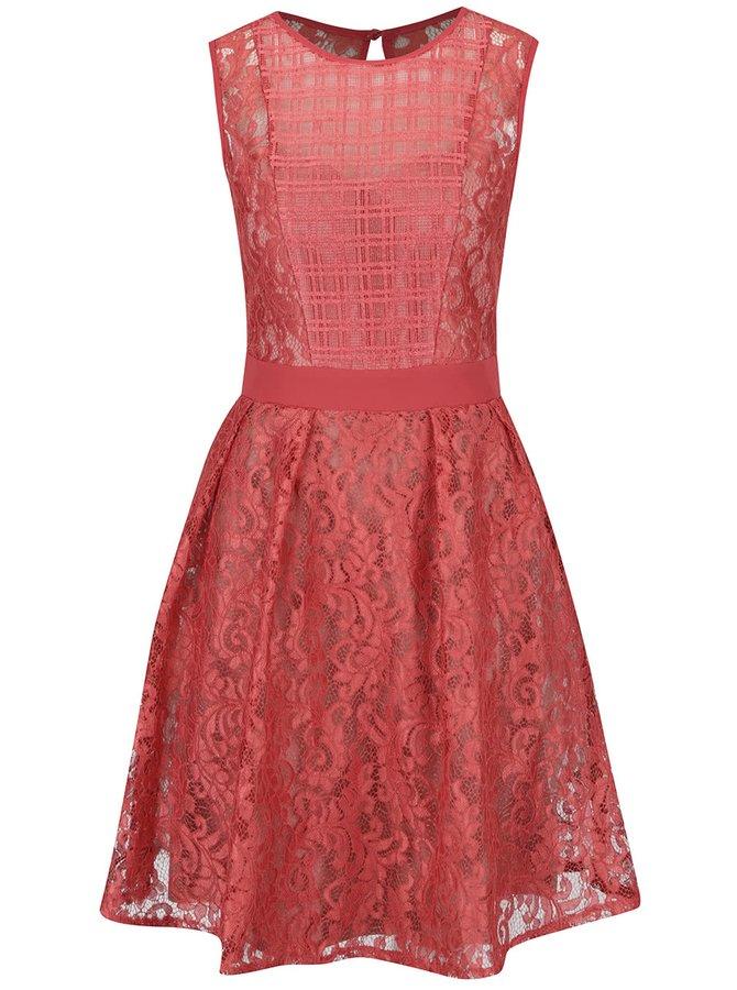 Červené krajkové šaty s průsvitným dekoltem Little Mistress