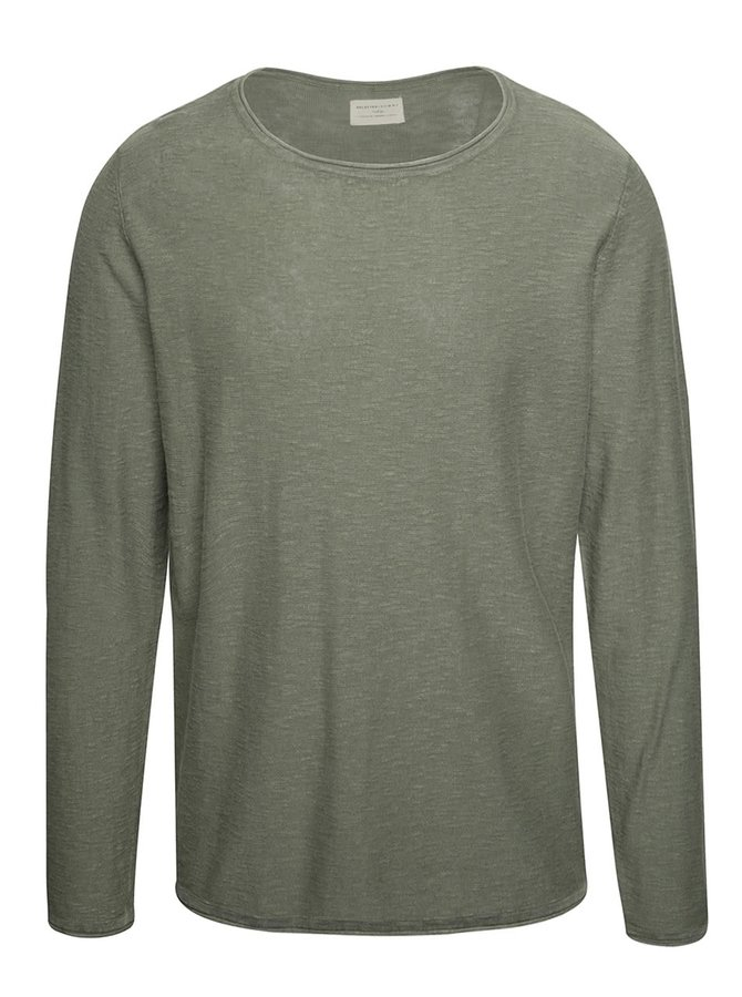 Khaki žíhaný lehký svetr Selected Homme Acid