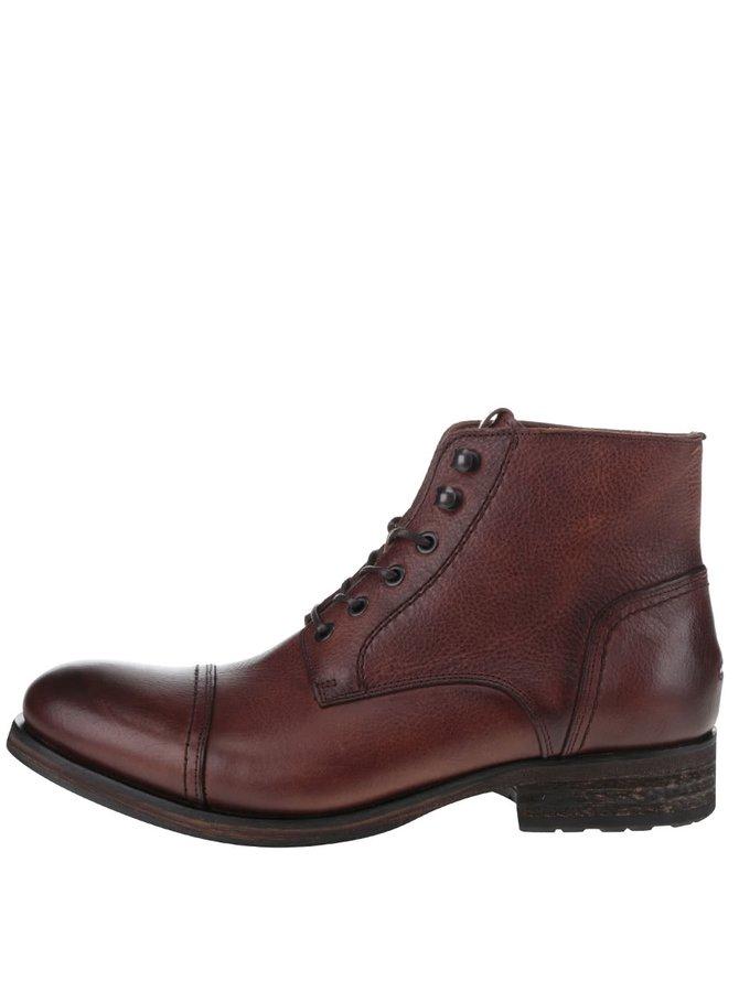 Hnědé pánské kožené kotníkové boty Tommy Hilfiger