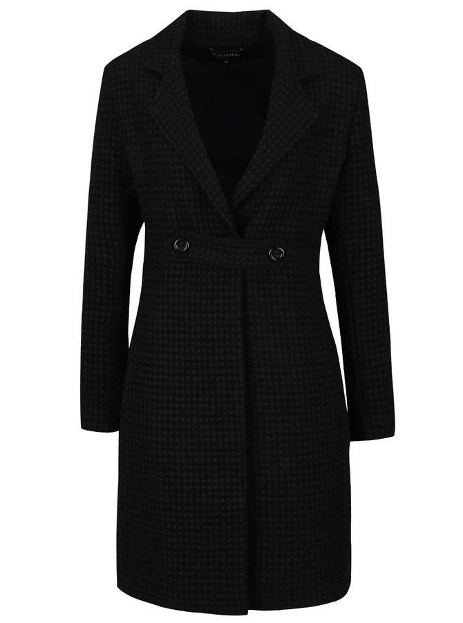 Černý vzorovaný vlněný kabát Kvinna Back to Black