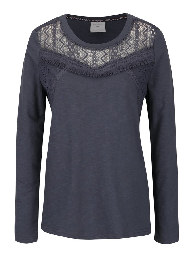 Šedomodré tričko s krajkovým dekoltem VERO MODA Sindi