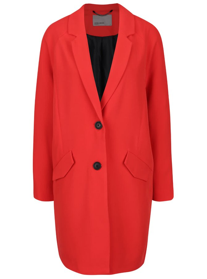 Palton roșu VERO MODA Solo cu buzunare