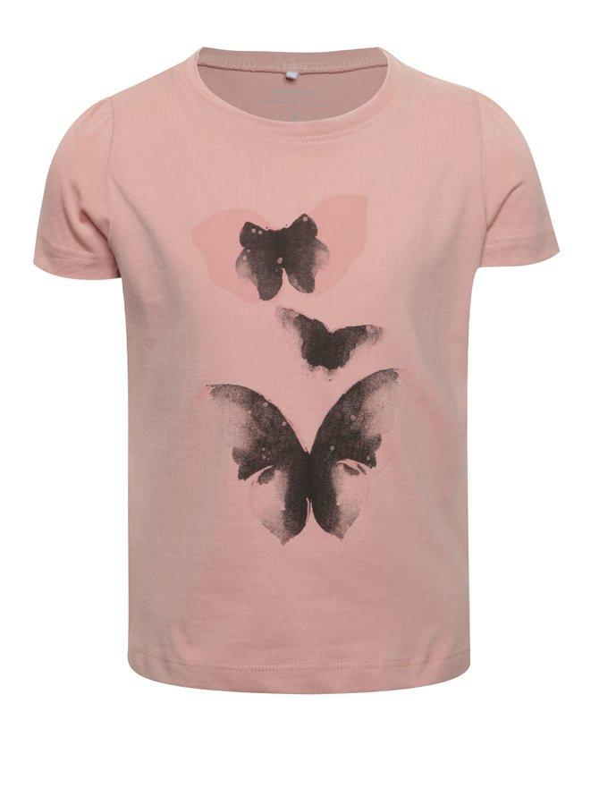 Růžové holčičí tričko s potiskem a dlouhým rukávem name it Veen Jolly