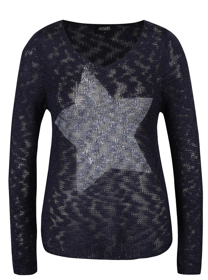 Tmavě modrý svetr s motivem hvězdy Haily´s Star