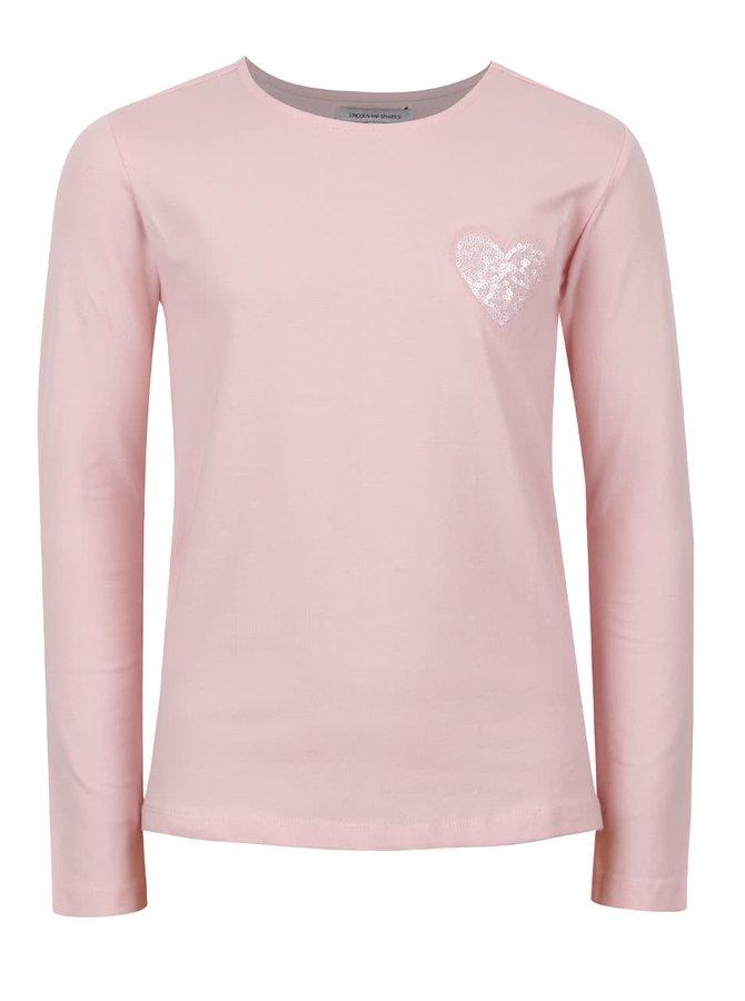 Světle růžové holčičí tričko s flitrovým srdíčkem 5.10.15.