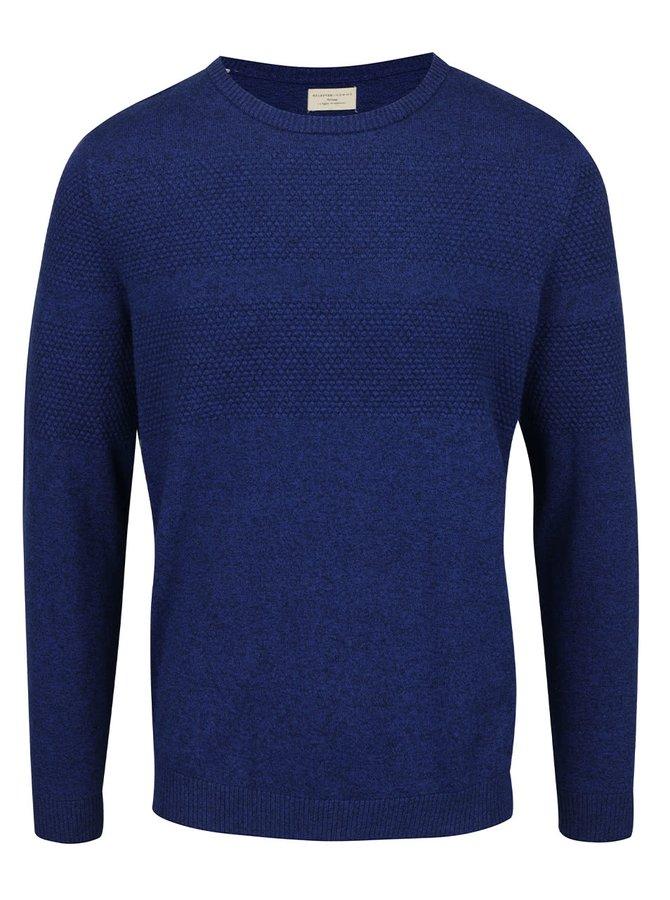 Bluză albastru închis Selected Homme Jogn din bumbac cu model discret