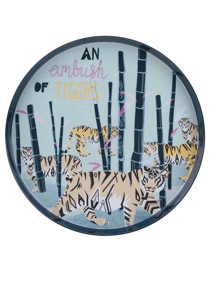 Žluto-modrý tác s motivem tygrů Disaster Tiger