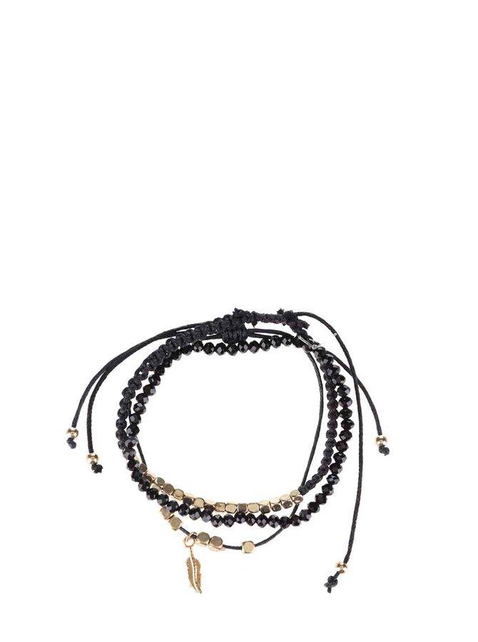Set 3 brățări negre Haily´s cu detalii aurii