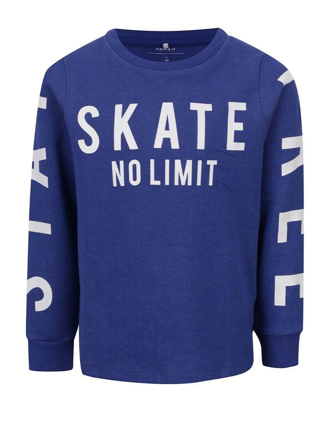 Bluză albastră cu imprimeu text name it Drake pentru băieți