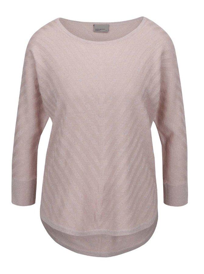 Bluză roz pal VERO MODA Sandra cu fir lurex