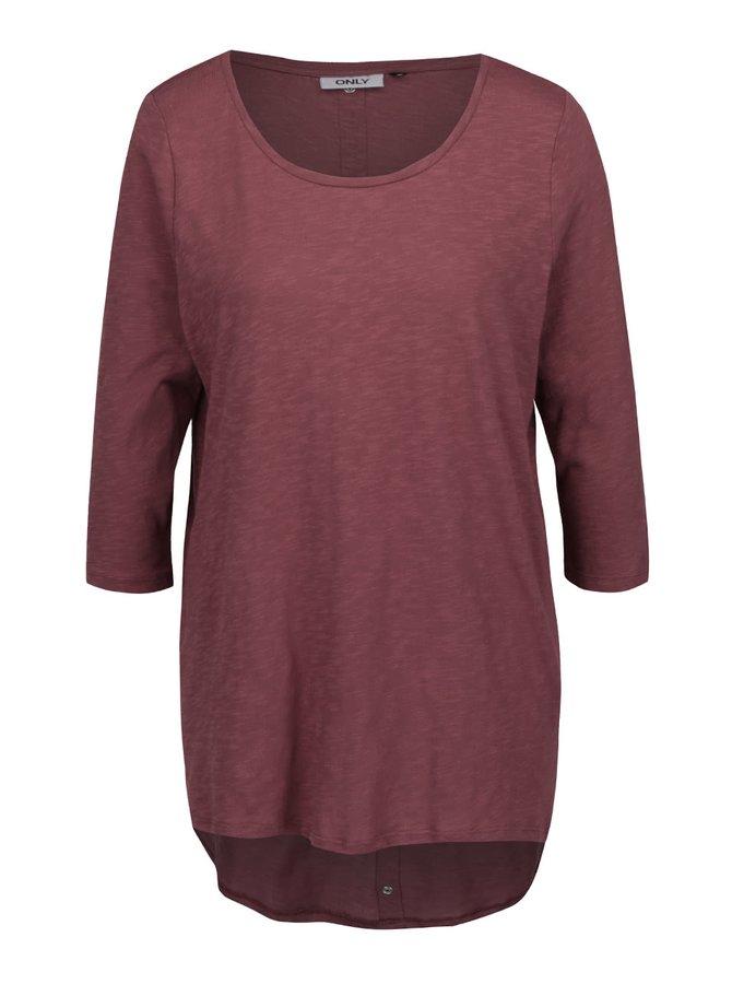 Bluză asimetrică roșu Bordeaux cu mâneci trei sferturi ONLY Casa