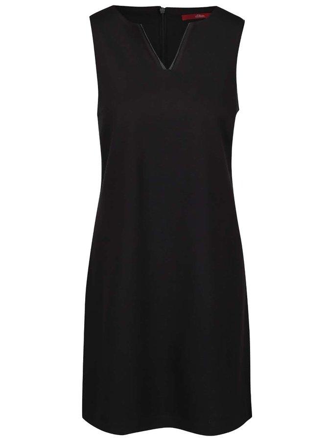 Rochie neagră s.Oliver cu detalii din piele sintetică