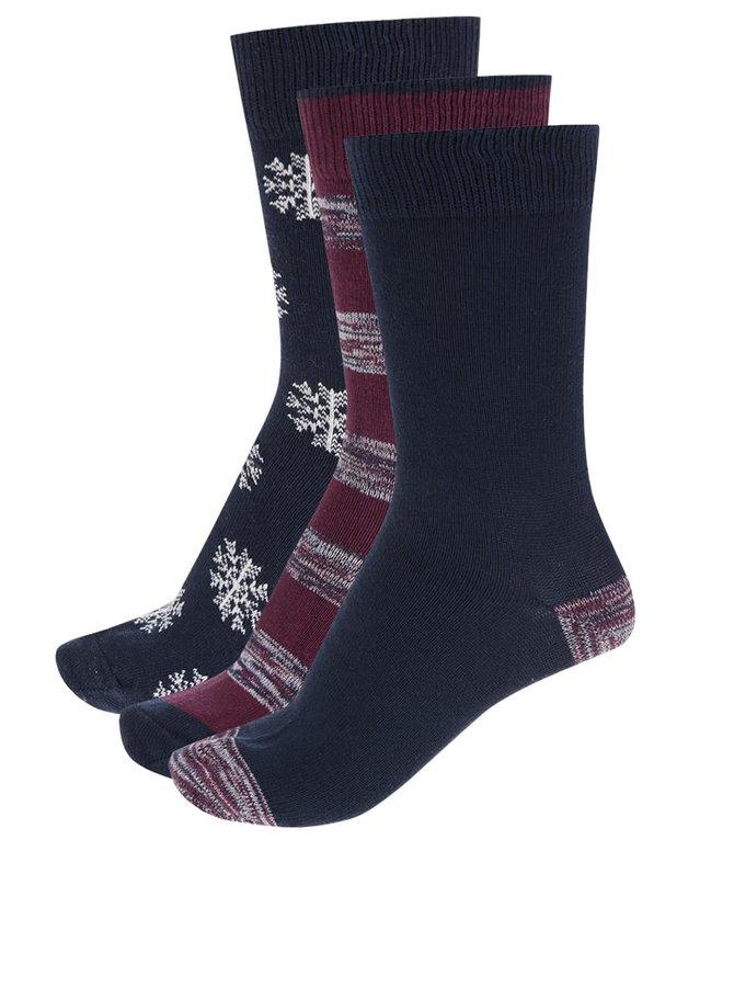 Sada tří párů vzorovaných ponožek ve vínové a modré barvě Burton Menswear London
