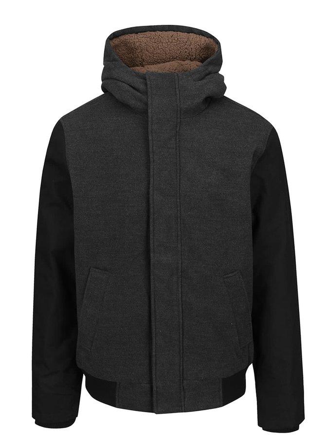 Jachetă negru melanj cu glugă Ragwear Eagle