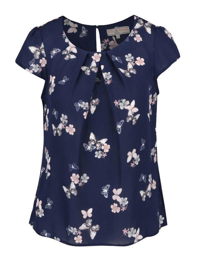 Bluză albastră Dorothy Perkins Petite cu model floral