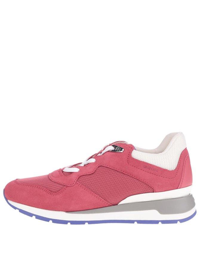 Pantofi sport roz Geox Shahira cu detalii albe