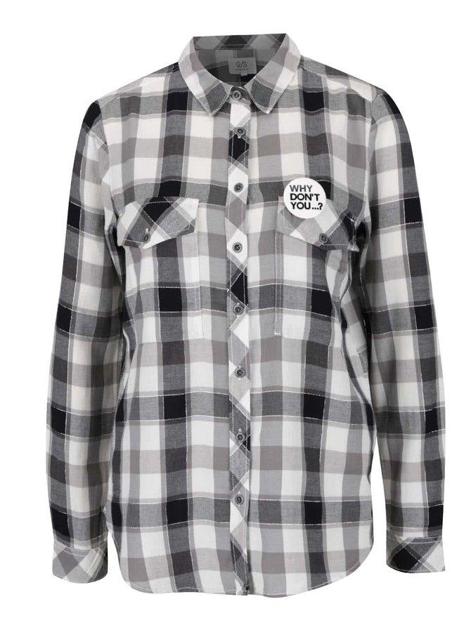 Černo-bílá kostkovaná dámská košile QS by s. Oliver
