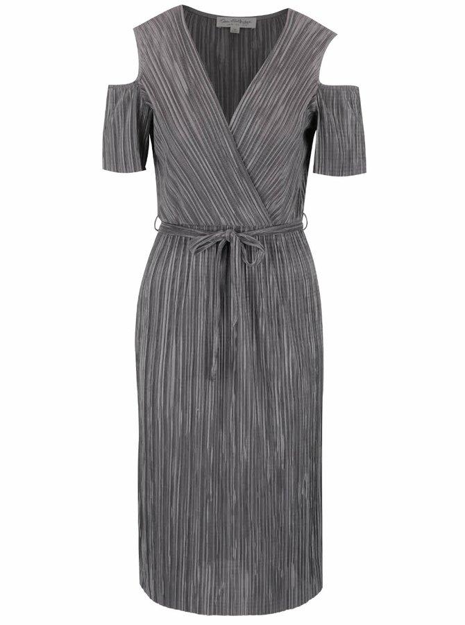 Šedé metalické plisované šaty s průstřihy na ramenou Miss Selfridge