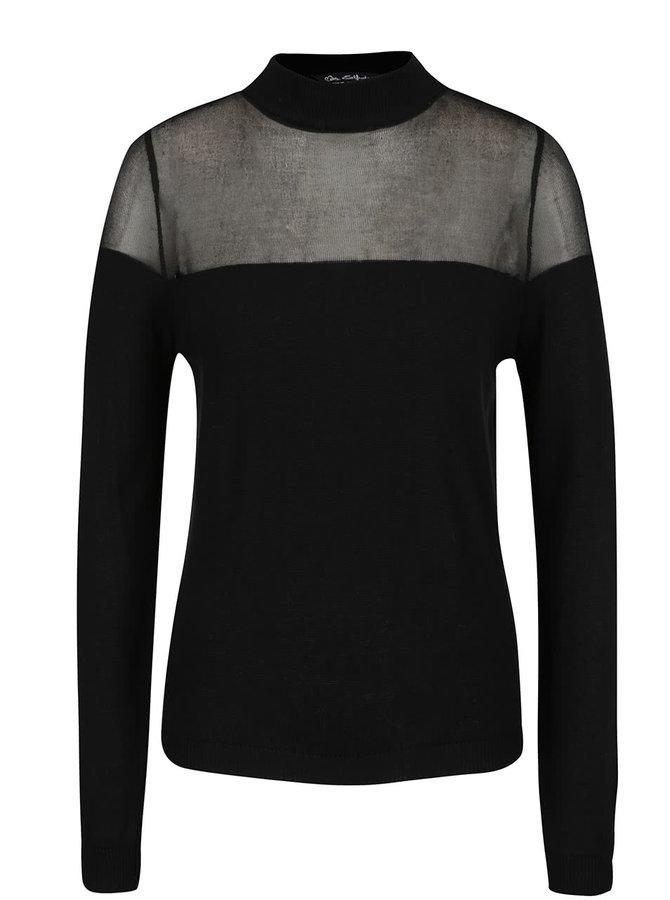 Černý svetr s průsvitným sedlem Miss Selfridge