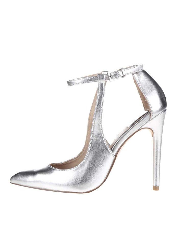 Metalické sandále v striebornej farbe na podpätku Miss Selfridge Lilly