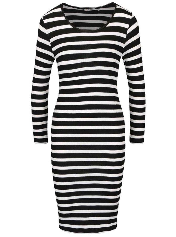 Bílo-černé pruhované šaty s dlouhými rukávy Rich & Royal