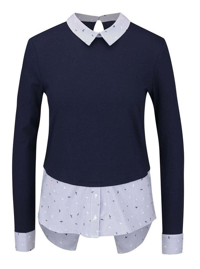 Tmavě modrý top s všitou pruhovanou košilí TALLY WEiJL